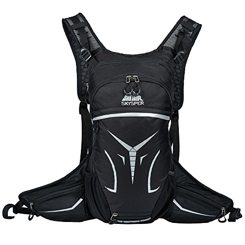 Skysper Cycling Backpack 15L Bike Daypack Ultralight Breathable Hydration Backpack Riding Rucksack with Helmet Storage for Running