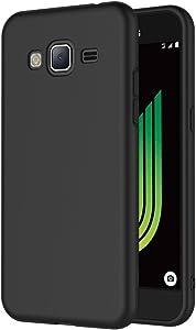 AICEK Funda Compatible Samsung Galaxy J3 2016, Negro Silicona Fundas para Galaxy J3 2016 Carcasa (5,0 Pulgadas) Negro Silicona Funda Case
