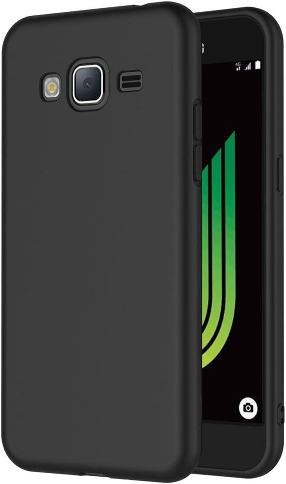 AICEK Coque Samsung Galaxy J3 2016, Noir Silicone Coque pour Galaxy J3 2016 Housse (5,0 Pouces) Noir Silicone Etui Case