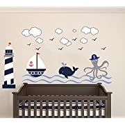 Nautical Theme - The Wonderful Sea World Sailor Children's Room Kids Room Baby Nursery Playroom Wall Decal Mural Vinyl Transfer Wall Art (AM) (Wide 50  x 28  Height)