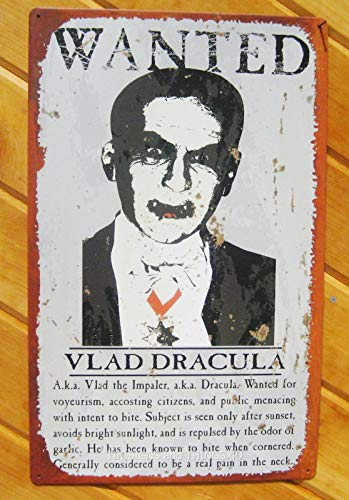 ShopForAllYou Vintage Decor Signs Wanted Dracula Pain in Neck TIN Sign Funny Halloween Metal Decor VTG Vampire OHW]()