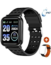 ANCwear Bluetooth Smart Watches Fitness Trackers with Heart Monitor and Blood Pressure, Waterproof Activity Trackers with Sleep Monitor & SMS Call Notification, Pedometer Watch for Men Women Kids
