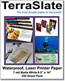 TerraSlate Paper 7 MIL 8.5'' x 14'' Waterproof Laser Printer/Copy Paper 250 Sheets