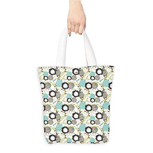 Grocery Shopping Bags with Handles Background Blue and Brown Leav Swirls work Print Multicolor Also a Gift for Mom W16.5 x H14 x D7 INCH