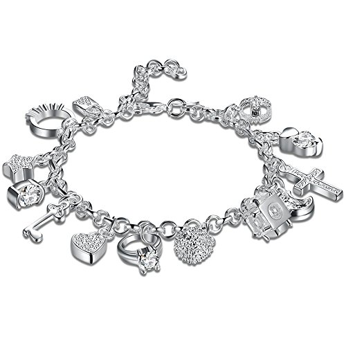 Daycindy Multi Layer Love Charms Bracelets for Women, Silver