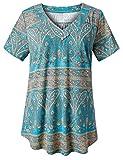 FOLUNSI Women's Plus Size Short Sleeve V Neck Swing Floral Tunic Tops