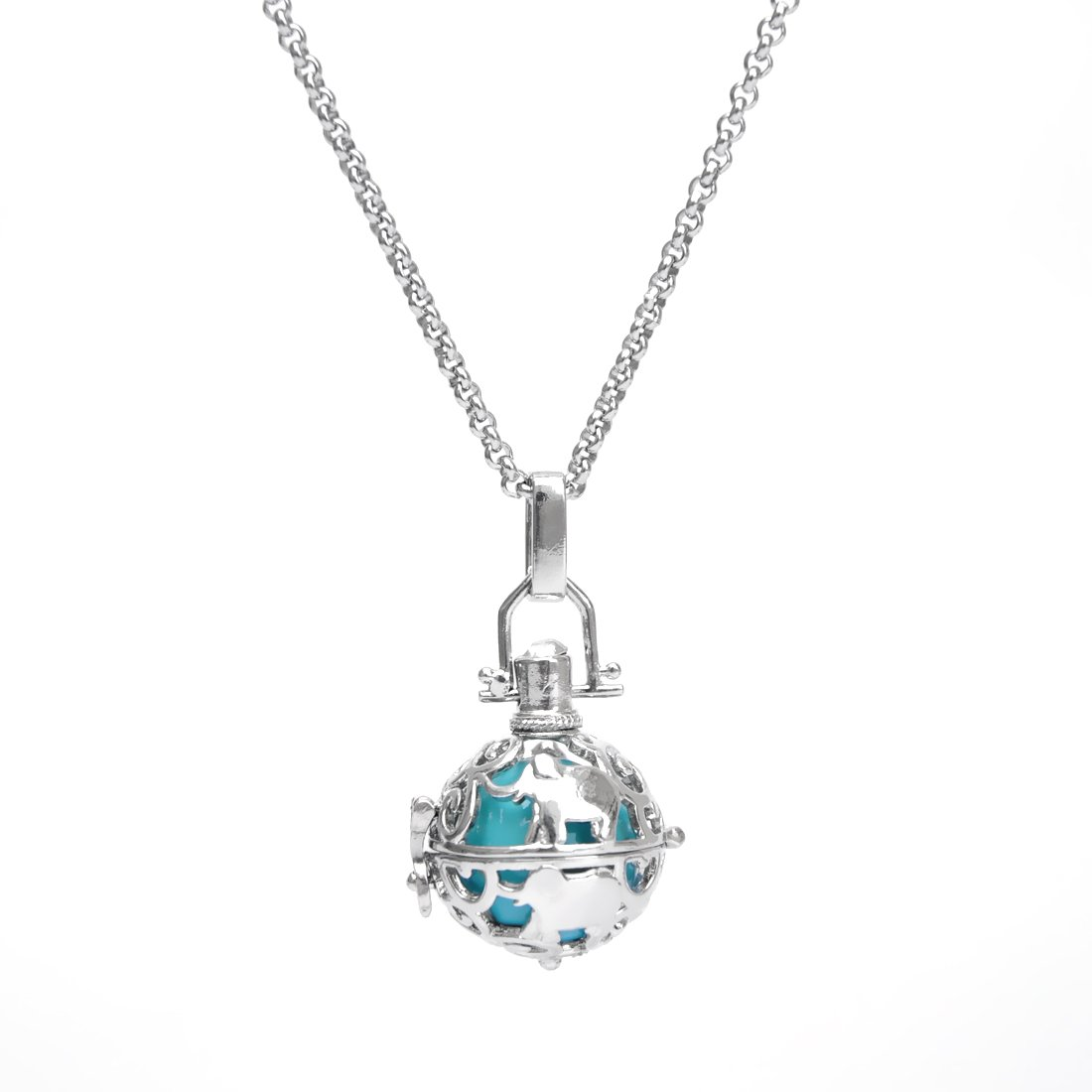 Cute Elephant Angel Chime Caller Ball Mexican Bola Harmony Musical Ball Pendant Pregnancy Necklace 30'' (Turquoise Inner Ball)