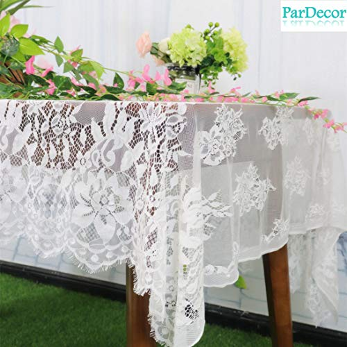 - Wedding-Lace-Tablecloth 60x120-Inch White Lace Fabric Eyelash Chantilly Floral Birdal Wedding Dress Flower Lace Table Cloth DIY Craft Trim Applique Embroidered Tablecloth Linen