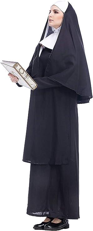 cultofmoon Disfraz De Monja para Mujer Pastor Cosplay Traje De ...