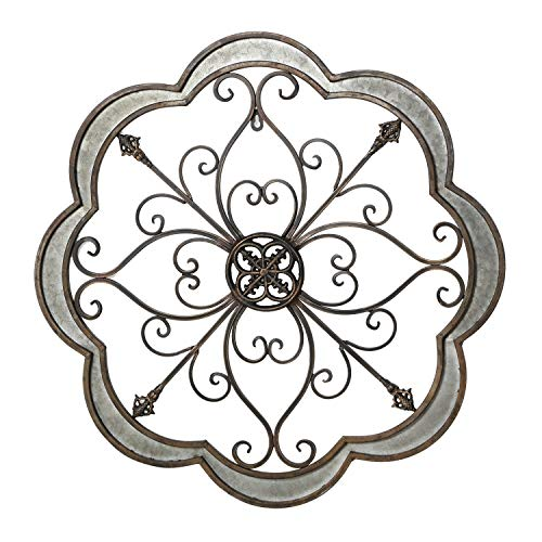 Adeco Urban Rustic Flower Scrolled/Fleur De lis Design, Metal Decor for Nature Home Art Decoration & Kitchen Holiday Wall Decorations, Christmas Wall Art Gifts, 24