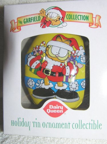 Garfield the Cat Santa Claus Tin Ornament From Dairy Queen 2001