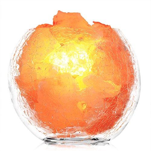 - Betus [Natural Crystal] Himalayan Salt Lamp - Hand Carved Salt Chunks with Dimmable Cord and 2 Light Bulbs - Crackle Glass Bowl