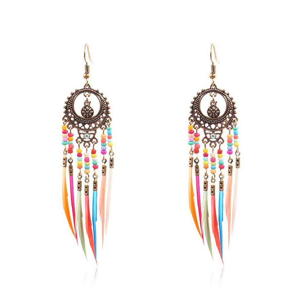 DGdolph Bohemian Retro Openwork Ellipse Colorful Rice Beads Feather Tassel Earrings Colorful Bronze