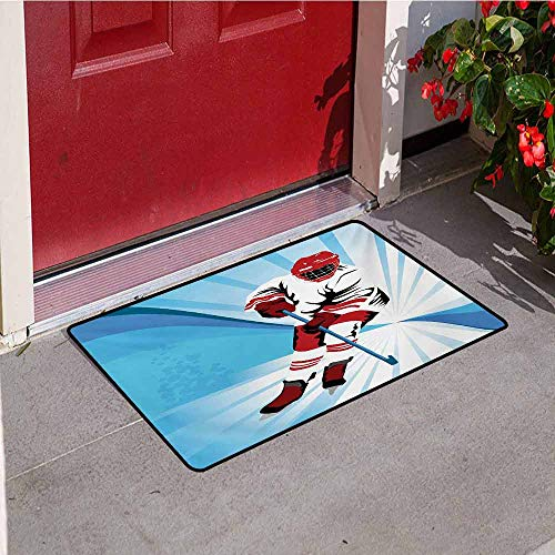 Jinguizi Hockey Welcome Door mat Hockey Player Makes a Strong Shot on Goal Rival Illustration Abstract Backdrop Door mat is odorless and Durable W15.7 x L23.6 Inch Blue Red White