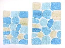 Cotton Craft   2 Piece Bath Rug Set   Pebbles Stones With Spray Latex Back  ...