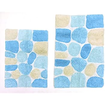 Cotton Craft - 2 Piece Bath Rug Set, Pebbles Stones Spray Latex Back - Turquoise Multi, 100% Pure Cotton,, Super Soft Plush, Hand Tufted Heavy Weight, Larger Rug 21x32 & Second Rug 18x24