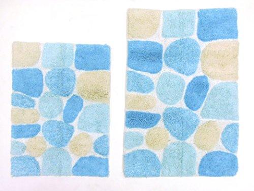 cotton-craft-2-piece-bath-rug-set-pebbles-stones-with-spray-latex-back-turquoise-multi-100-pure-cott