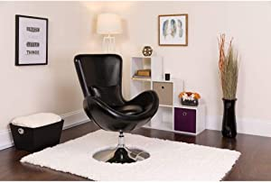Flash Furniture Black Leather Egg Series Chair