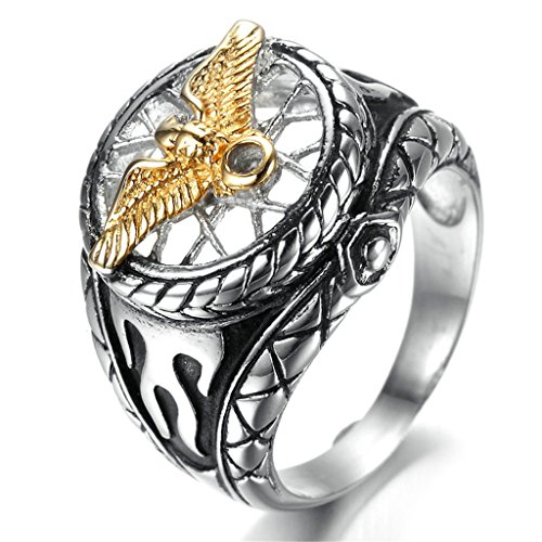 Stainless Steel Ring for Men, Eagle Ring Gothic Silver Band Gold 2317MM Size 8 (Boucheron Costume Jewellery)