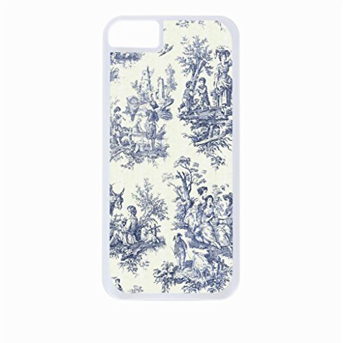 - Bohemian Toile Pattern-Navy and Cream - Case for the Apple Iphone 5C-Hard White Plastic Outer Shell with Inner Soft Black Rubber Lining
