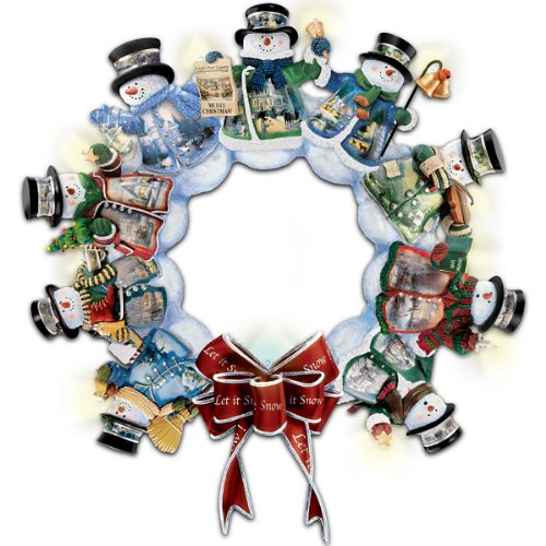 Amazon Com Thomas Kinkade Illuminated Musical Snowman Wreath Let