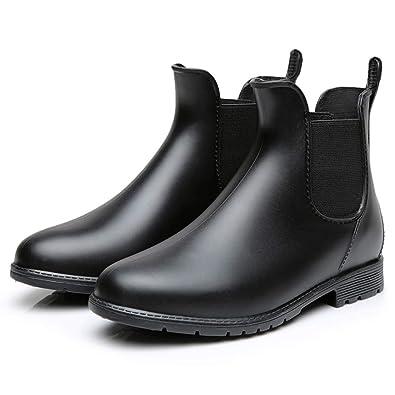 201e9b1231bae Buganda Women's Short Rain Boots - Waterproof Non Slip Ankle Rain Shoes  Elastic Chelsea Booties