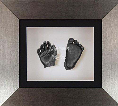 BabyRice 3D Baby Boy Casting Kit Brushed Pewter Effect Frame Pewter Foot Casts by BabyRice