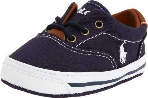 Ralph Lauren Layette Baby - Ralph Lauren Layette Vaughn Crib Shoe (Infant/Toddler) Soft Sole,Navy Canvas 2,2 M US Infant