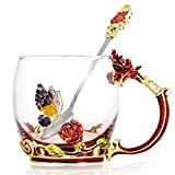 KKGO Tea Cups Coffee Mug with Spoon for Women Girls, Crystal Glass Unique Rose Flower Design Handmade Enamel Beautiful Tea Coffee Cup - Gift Set for Mom Grandma Wife Girlfriend Sisters Coworker