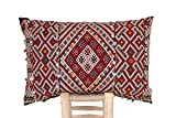 Moroccan Kilim Pillow Cushion Lumbar Cover, Berber Handmade, indoor/outdoor, refashioned from a vintage rug, hand woven in Morocco's High Atlas Mountains. (CV336)