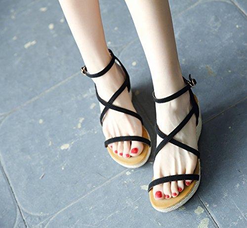 Cnpshoe184 Zamme B Femme Noir Sandales Pour d07waq