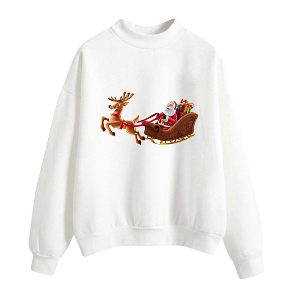 FEDULK Clearance Christmas Women Pullover Stanta Claus Print Blouse Casual Sweatshirt(White2,US Size L = Tag XL)