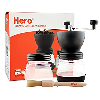 Manual Coffee Grinder Ceramic Burr-Hero Glass Jar Coffee Mill, Precision Brewing, Washable, Convenient for Using, with Cleaning Brush and Sealed Coffee Container for Household, Office