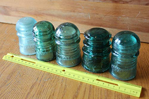 W Brookfield No 18 81 3 Vintage glass pole insulators Lot of 5 Aqua & Light blue