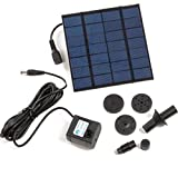 Water Pump Kits - Garden Fountain Pool Long Cable & Sprayers Solar Power Panel Kit Pond Accessories for Bird Bath Submersible Watering