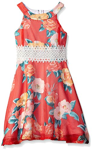 Rare Editions Girls' Big Tropical Floral Print Dress, Coral, 14