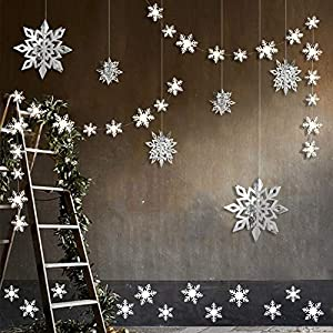 Winter Wonderland Party Decorations, 24pcs 3D Paper Snowflake Hanging Garland Decorations & 6pcs Large Snowflake Decor & Stickers Value Kit for Birthday Christmas Hanging Party Decor Supplies (Silver)