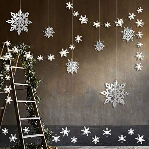 Winter Wonderland Party Decorations, 24pcs 3D Paper Snowflake Hanging Garland Decorations & 6pcs Large Snowflake Decor & Stickers Value Kit for Birthday Christmas Hanging Party Decor Supplies -