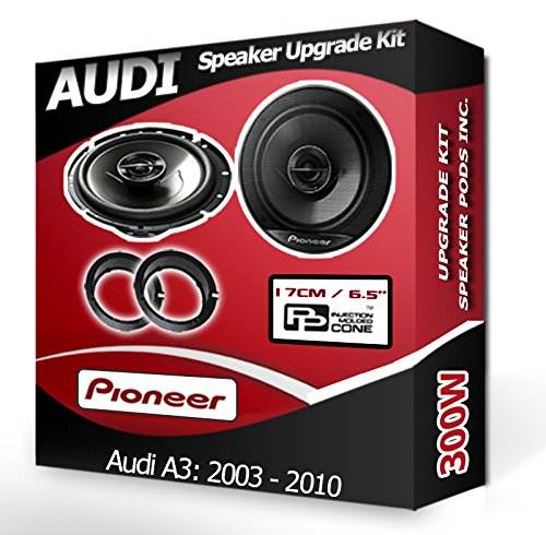 Audi A3 Front Door speakers Pioneer car speaker kit + adapter rings pods 300W