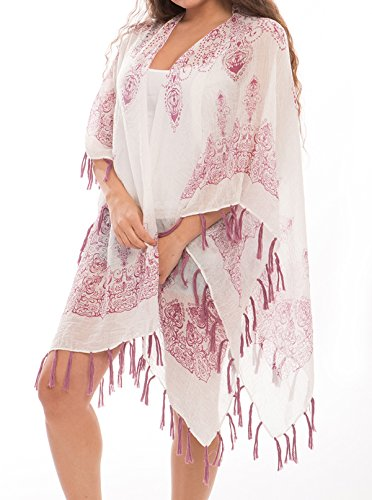 fd5a713e9680d J Fashion Accessories Women's Fashion Swimwear Cover-UPS Top Dress Chiffon  Kimono Cardigan With Fringes