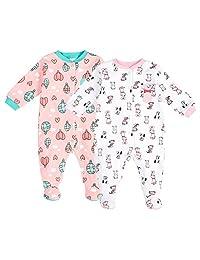 Pekkle Unisex Baby 2-Pack Footed Sleeper, Snap, Sleep & Play Onesie Pajamas