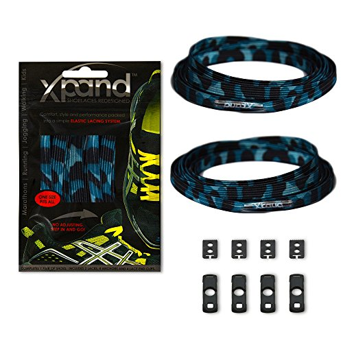 Xpand No Tie Shoelaces System with Elastic Laces - Blue Camo - One Size Fits All Adult and Kids -