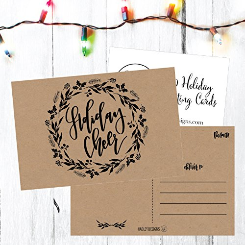 50 Kraft Wreath Holiday Greeting Cards, Cute Fancy Blank Winter Christmas Postcard Set, Bulk Pack of Premium Seasons Greetings Note, Happy New Years for Kids, Business Office or Church Thank You Notes Photo #5