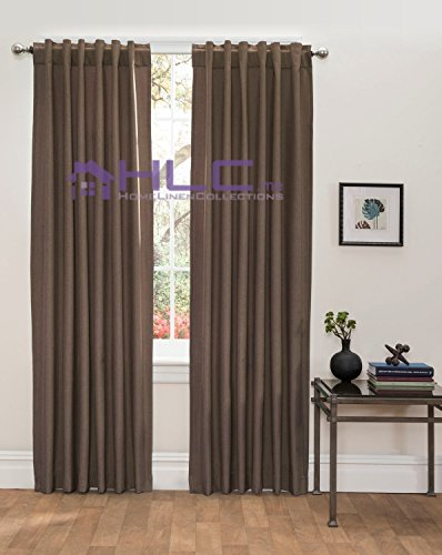 HLC.ME Textured Room Darkening Thermal Energy Efficient Back-Tab/Rod-Pocket Window Curtain Panels - Pair - 54