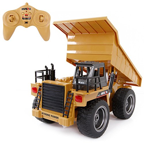 SGILE RC Remote Control Truck ,1:18 Dump Truck Construction Vehicle Toy, 2.4Ghz 6 Channel Full Function Truck Toy for Kids, Boys and Girls