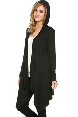 e39d425b642 YFH Women s Draped Front Hooded Long Asymmetrical Hem Knit Cardigan (Small