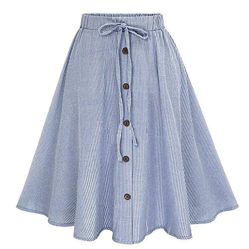 Oasisocean Womens A-Line High Waisted Button Front Drawstring Pleated Midi Skirt with Elastic Waist Knee Length Midi Skirt Blue (Detail Skirt Pleated)