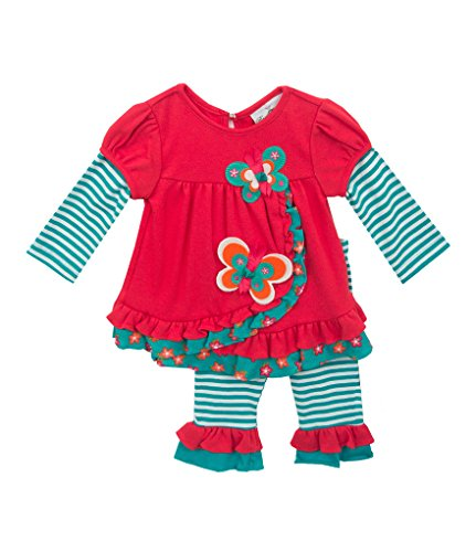 Rare Editions Newborn Girl Fall Butterfly Set -Teal, Coral (3m-9m) (6 months) ()