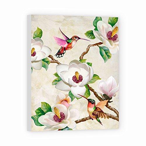DìMò ART Canvas Print Wall Art Wang Terry Magnolia and Humming Birds size 48x 36 (121x91 CM) with white border 2 (5 CM)