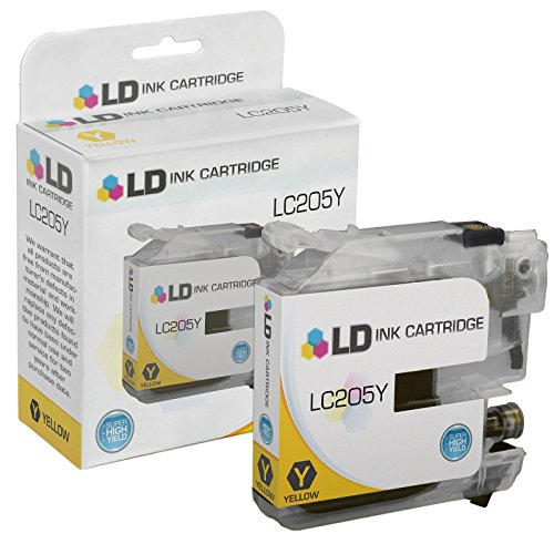 LD © Compatible Replacement for Brother LC205Y Extra High Yield Yellow Inkjet Cartridge for use in Brother MFC J4320DW, J4420DW, J4620DW, J5520DW, J5620DW, and J5720DW Printers